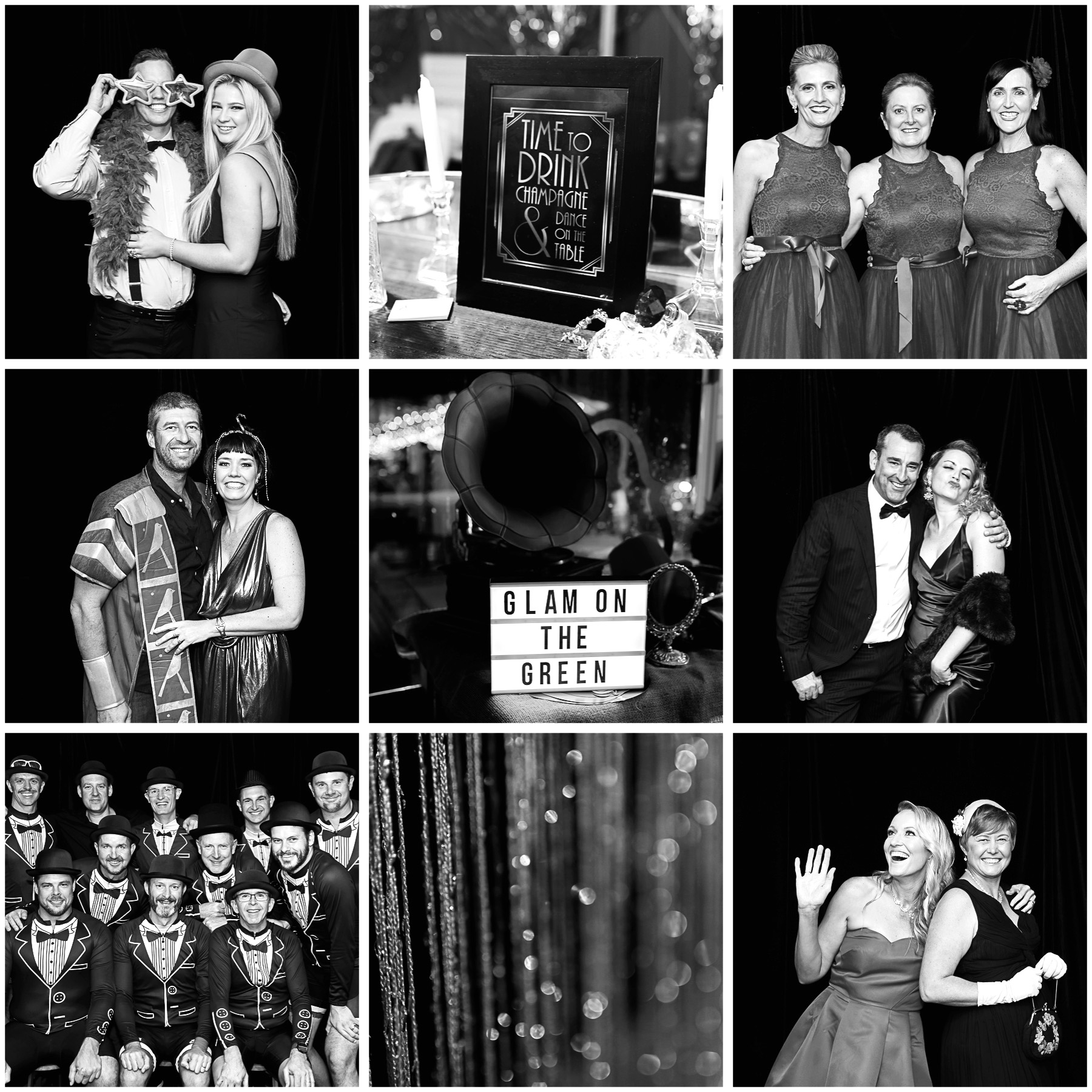 Black and white image collage of Glam on the Green fundraiser event in Sutherland Shire Sydney