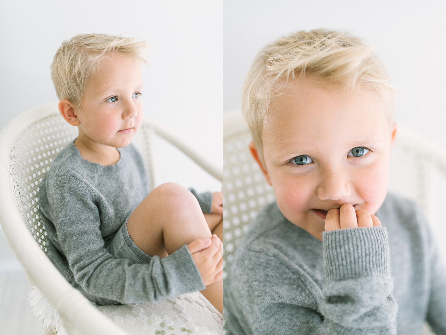 Two images side by side of young blond haired boy sitting on white cane chair looking out window and biting fingernails during children's photography session in Sutherland Shire Baby and children's photography Studio in Sutherland Shire Sydney