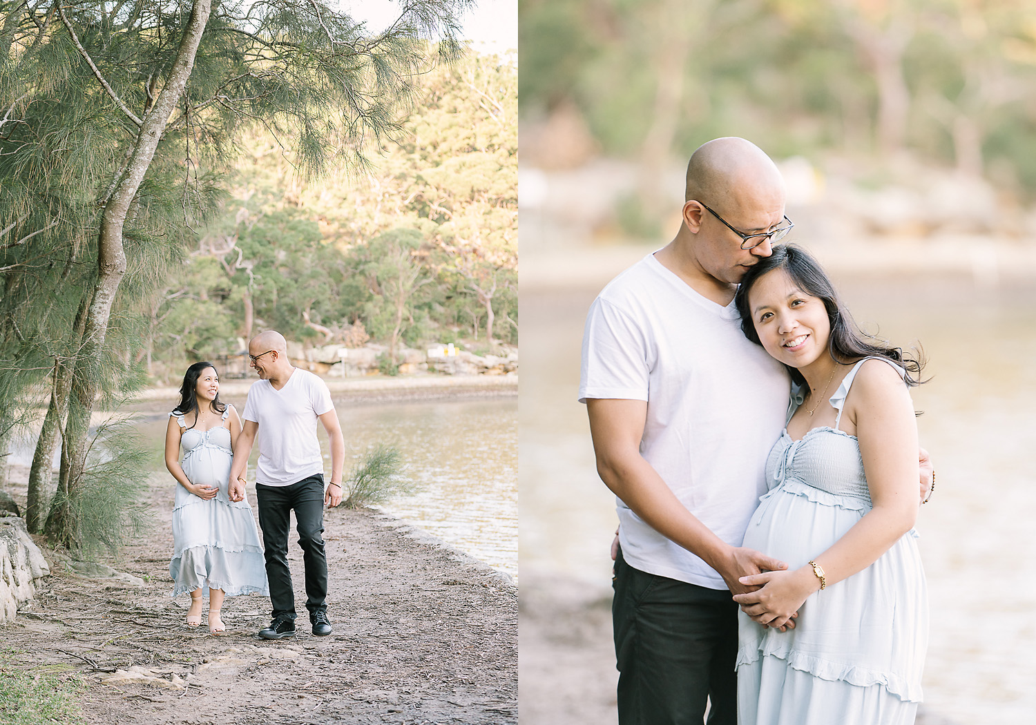 Two images side by side. First image of man and pregnant woman walking by river and looking at each other happily, second image of man kissing woman on top of head at camera as photographed by Sutherland Shire Maternity Photographer Sevenish Photography