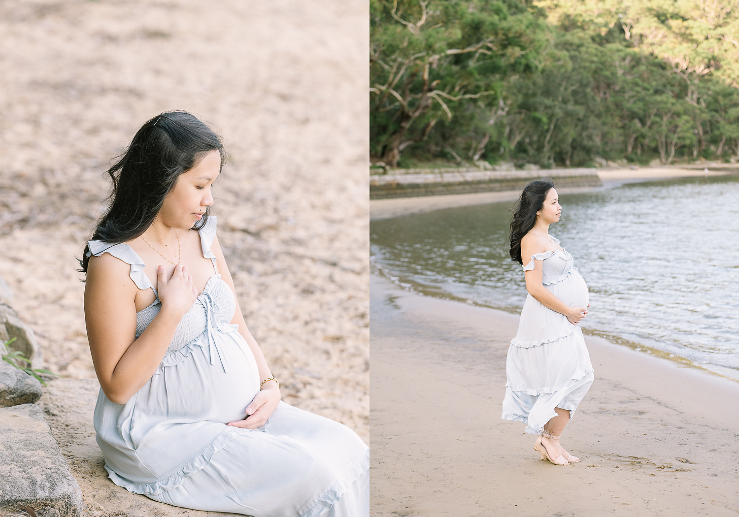 Two images side by side. First image of pregnant woman seated at beach looking down at belly, second image of pregnant woman standing at riverside looking out to the water as photographed by Sutherland Shire Maternity Photographer Sevenish Photography