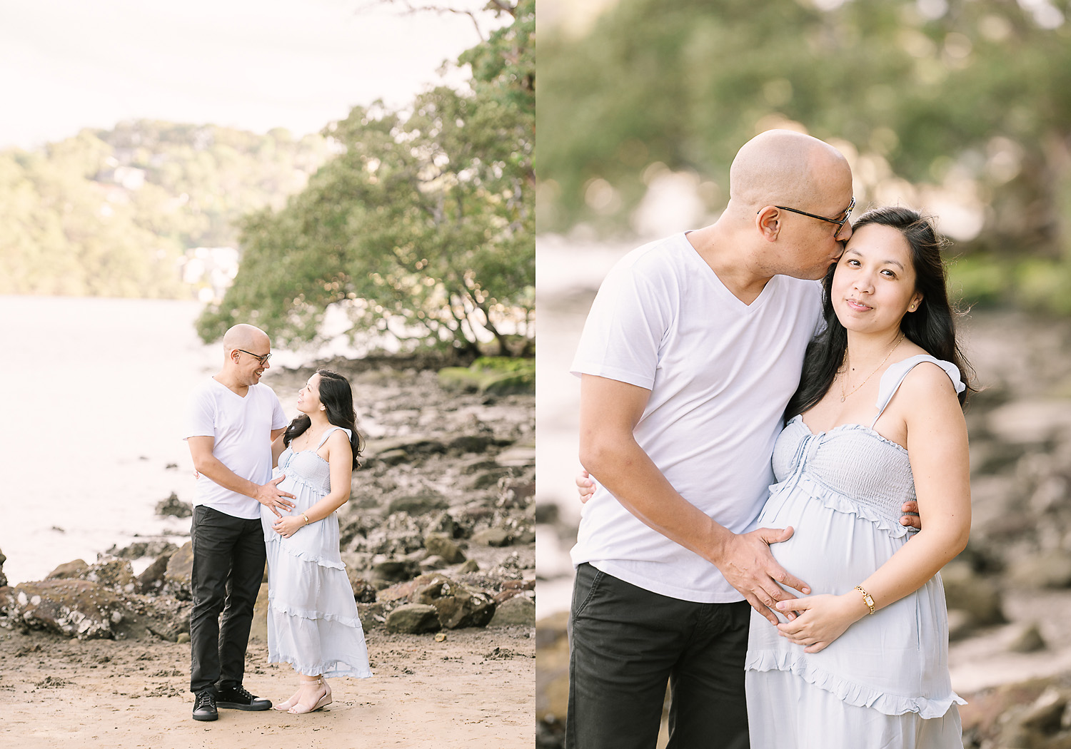 Two images side by side. First image of man smiling broadly at pregnant woman, second image of man kissing woman and holding pregnant belly as photographed by Sutherland Shire Maternity Photographer Sevenish Photography