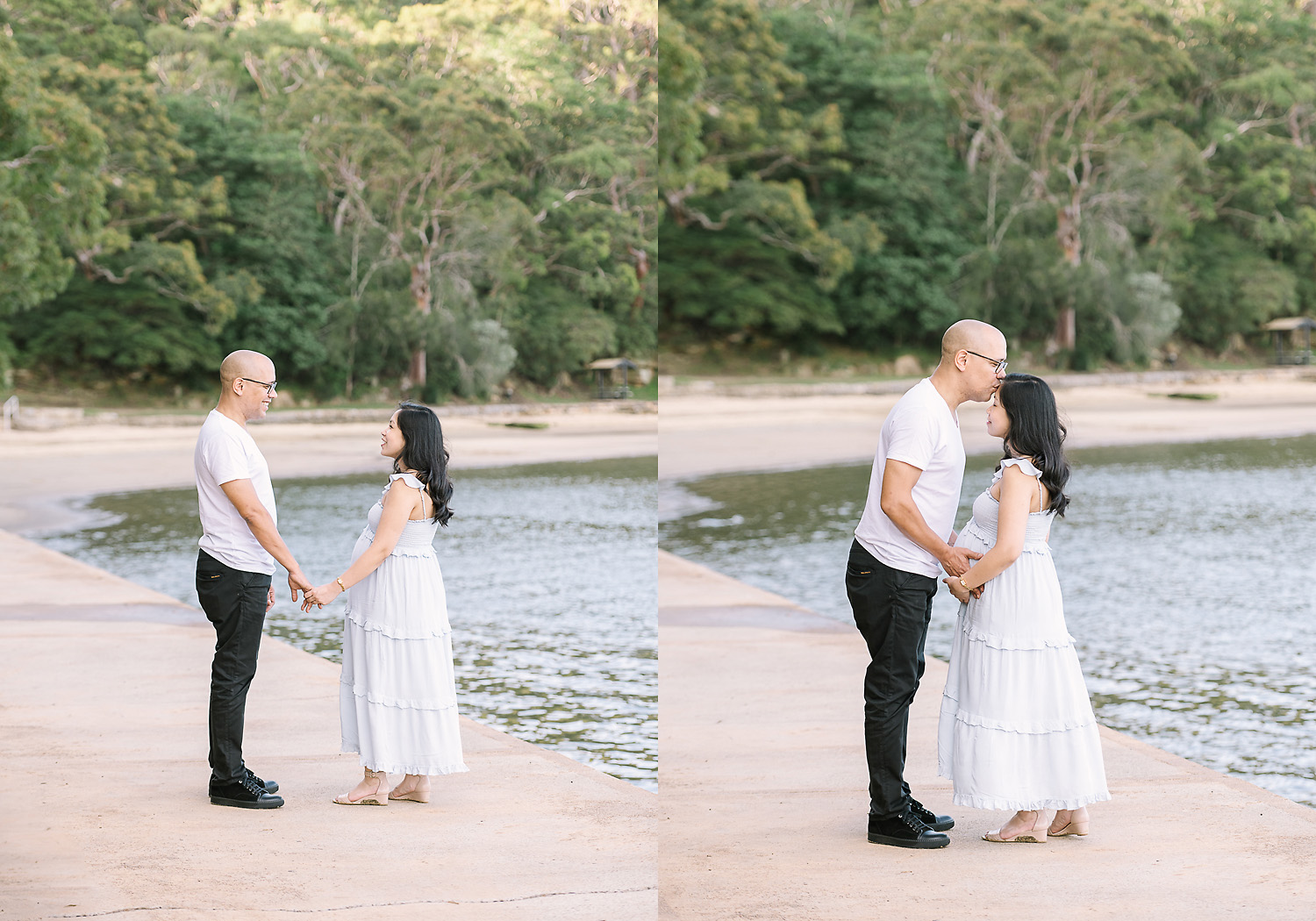 Two images side by side. First image of man and pregnant woman looking at each other and holding hands, second image of man kissing woman on top of head at camera as photographed by Sutherland Shire Maternity Photographer Sevenish Photography