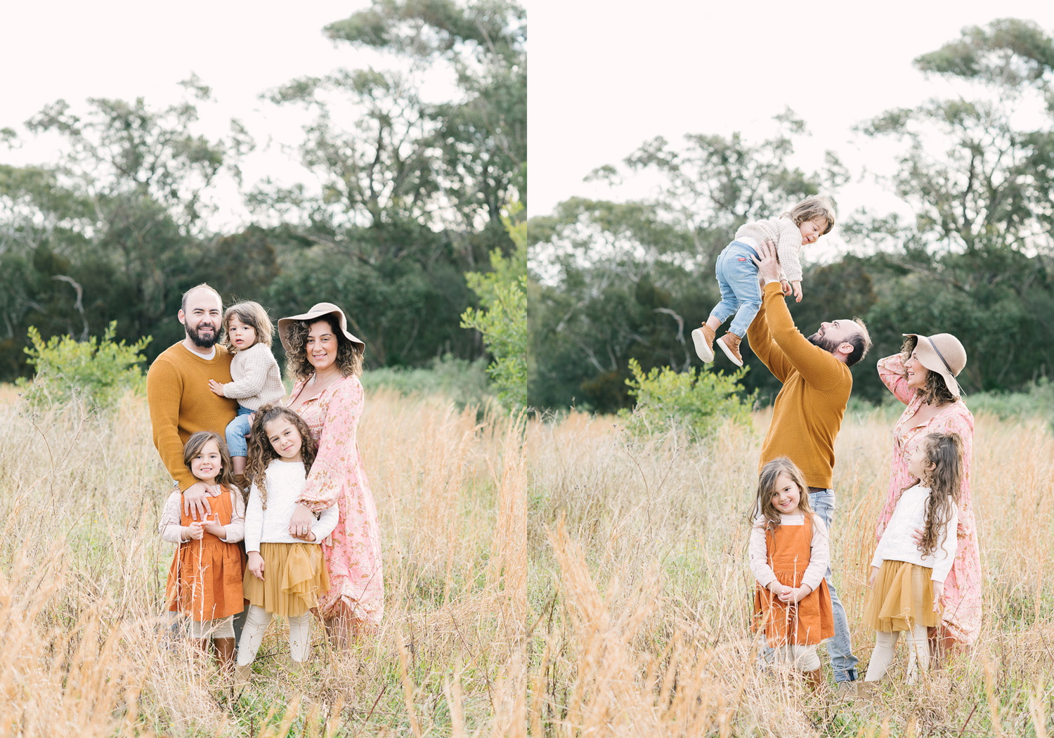 Two images side by side. First image of family of five standing in field of long grass smiling to camera, second image of family of five with dad throwing toddler up in air playfully, as photographed by Sutherland Shire Family Photographer Sevenish Photography