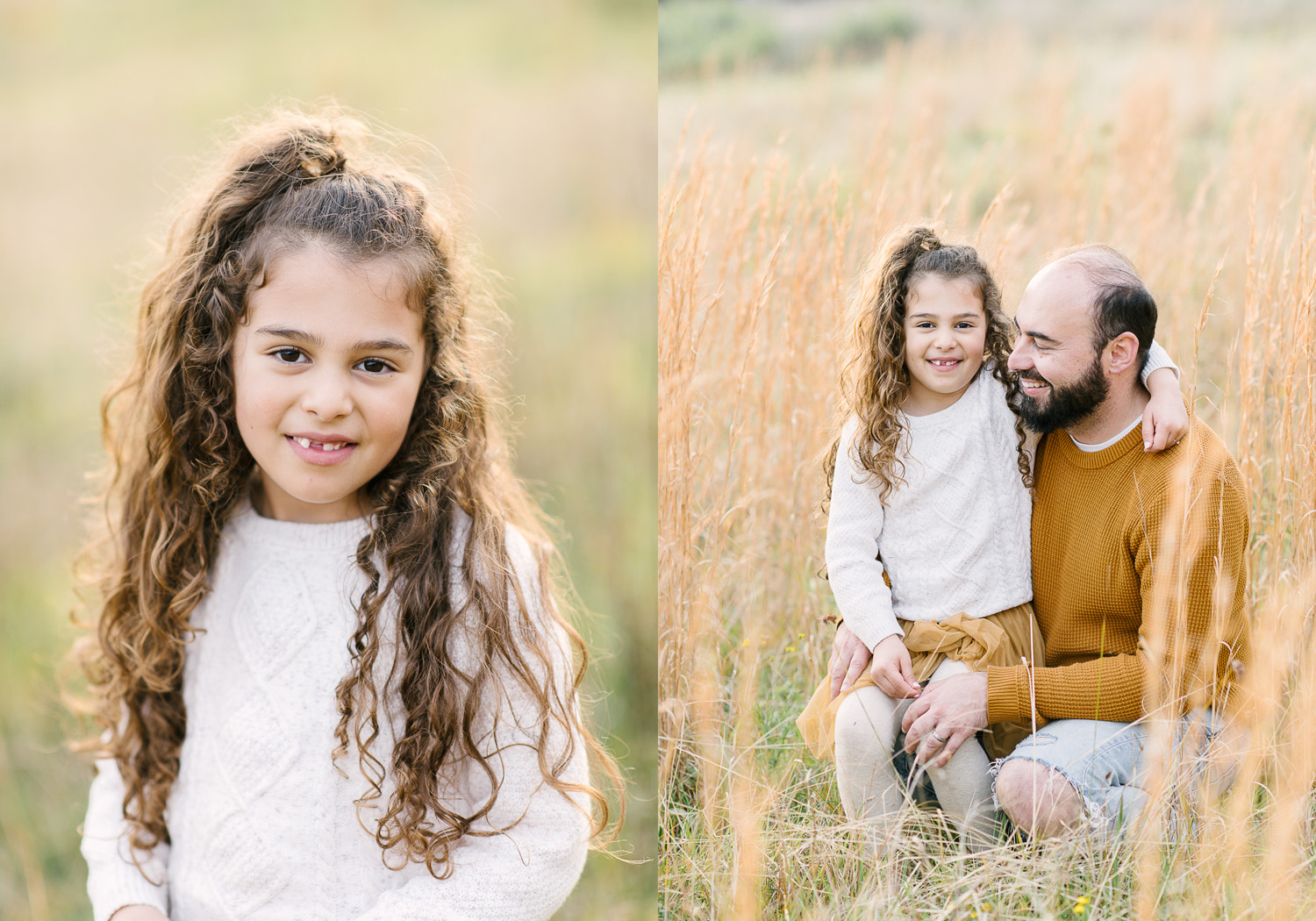 Two images side by side. First image of young girl with missing front tooth and long hair smiling sweetly, second image of young girl sitting on her Dad's knee in field of long grass, as photographed by Sutherland Shire Family Photographer Sevenish Photography