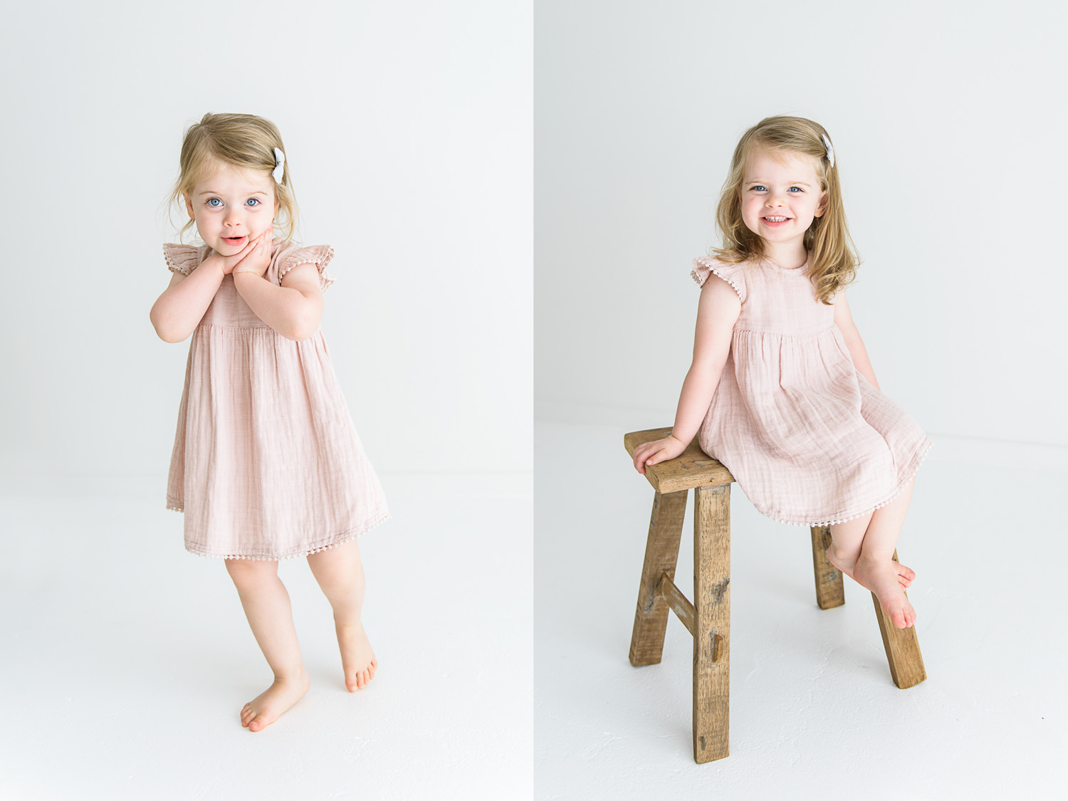 Two images side by side. First image of young girl standing and smiling sweetly at camera, second image of young girl sitting on wooden seat and grinning widely at camera during sutherland shire baby photography session in Sevenish Photography Studio
