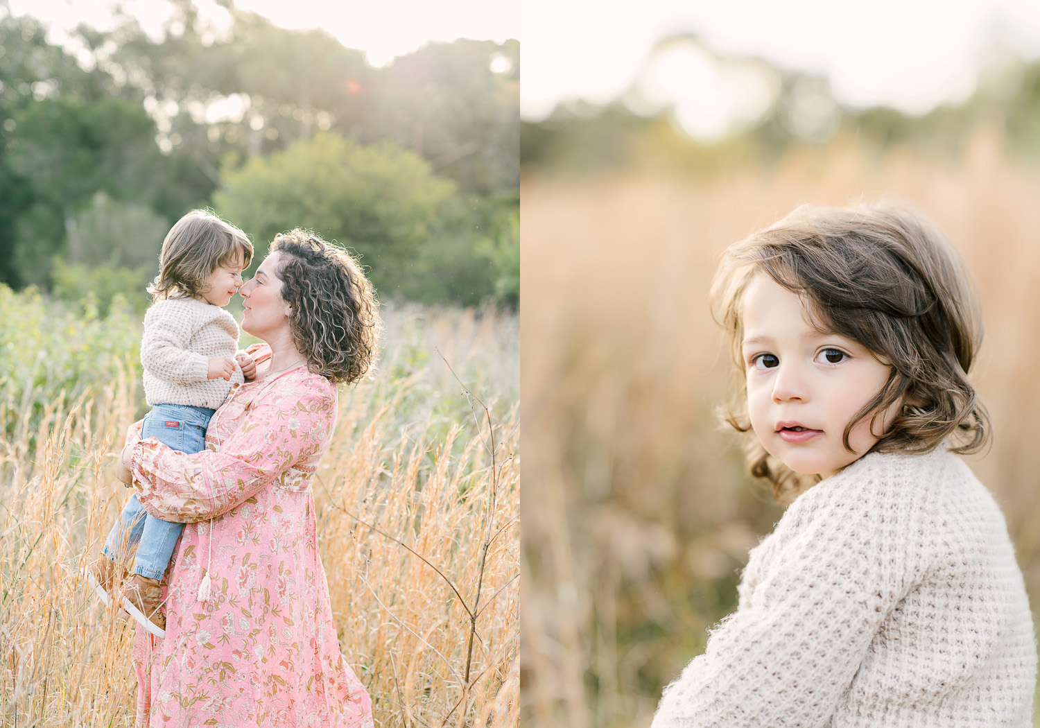 Two images side by side, first image of mother holding young son with faces close together, second image of young boy with long hair looking to camera sweetly as photographed by Sutherland Shire Family Photographer Sevenish Photography