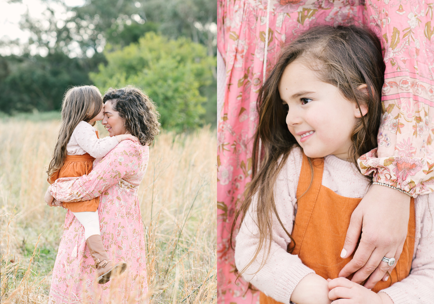 Two images side by side. First image of Mother holding young daughter in her arms, with daughter kissing mother on forehead, second image closeup of young girl with mothers hand resting on her gently, as photographed by Sutherland Shire Family Photographer Sevenish Photography