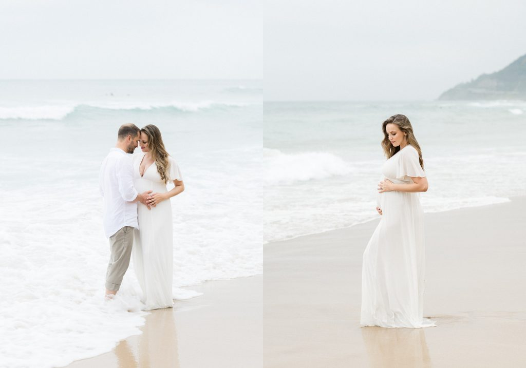 Two images side by side. First image of couple embracing on beach, with pregnant woman pregnant and wearing white pretty dress. Second image pregnant woman standing confidently in white dress on beach holding her pregnant belly as photographed by Sutherland Shire Maternity Photographer Sevenish Photography