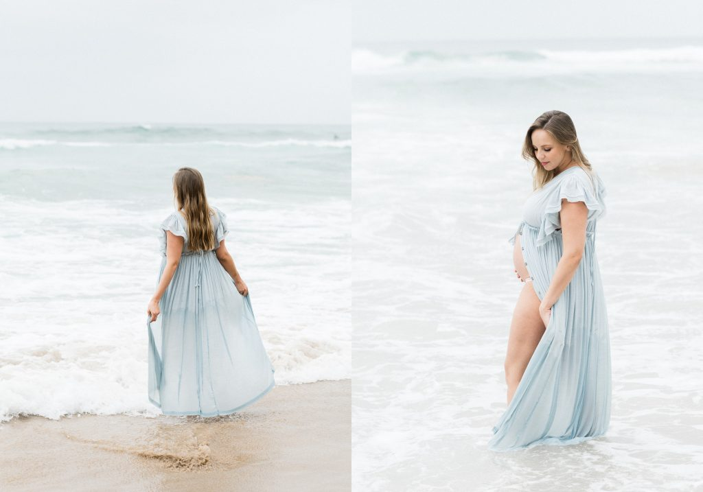 Two images side by side of beautiful young pregnant woman in floaty blue dress walking in the water on the beach photographed by Sutherland Shire Maternity Photographer Sevenish Photography