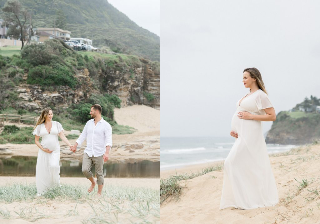 Two images side by side. First image of young couple walking on beach looking at each other with woman holding pregnant belly. Second image pregnant woman standing confidently in white dress on beach holding her pregnant belly as photographed by Sutherland Shire Maternity Photographer Sevenish Photography